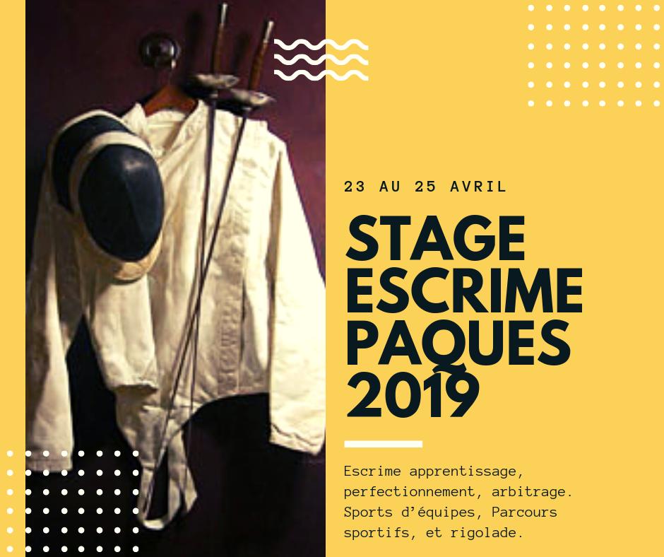 Stage escrime pour enfants avril 2019