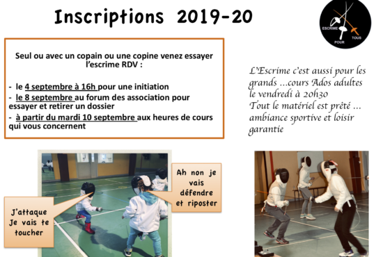 Inscription Escrime – Saison 2019/2020