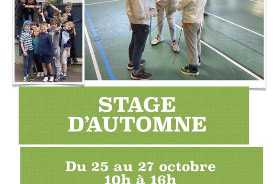 Stage d'automne les 25,26,27  octobre :  les  inscriptions sont ouvertes